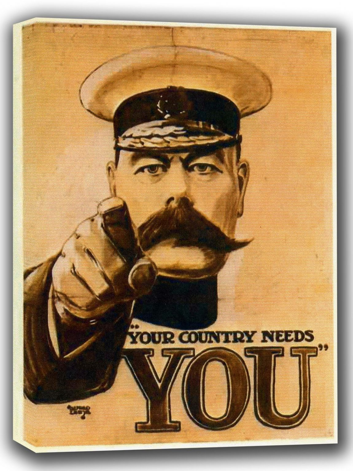 Lord Kitchener: Your Country Needs You. Military Canvas. Sizes: A4/A3/A2/A1 (002685)